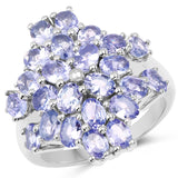 4.08 Carat Genuine Tanzanite .925 Sterling Silver Ring