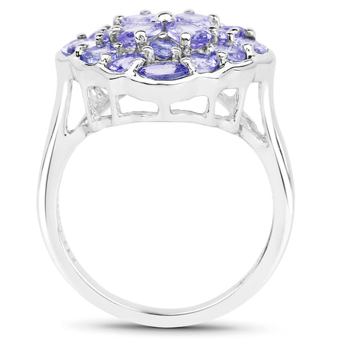 2.44 Carat Genuine Tanzanite .925 Sterling Silver Ring