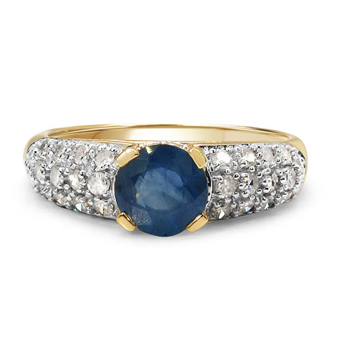 1.56 Carat Genuine Blue Sapphire & White Diamond 10K Yellow Gold Ring