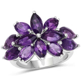 5.96 Carat Genuine Amethyst .925 Sterling Silver Ring
