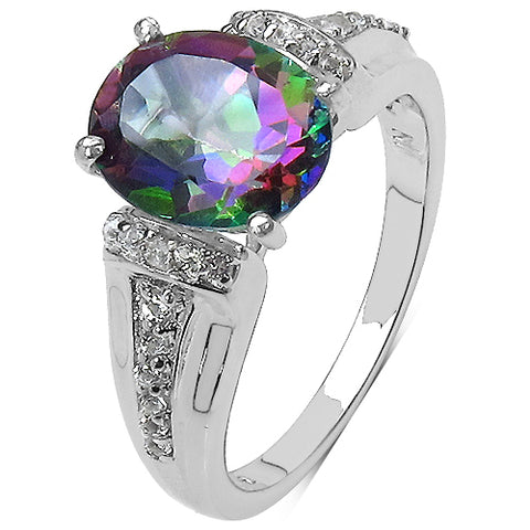 3.47 Carat Genuine Mystic Topaz & White Topaz .925 Sterling Silver Ring