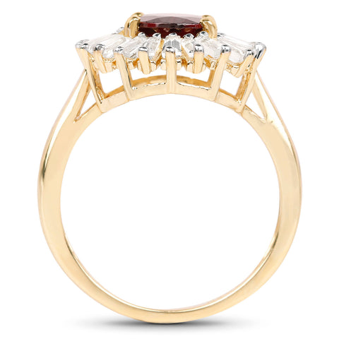 18K Yellow Gold Plated 2.27 Carat Genuine Garnet & White Topaz .925 Sterling Silver Ring