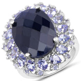 17.81 Carat Dyed Sapphire and Tanzanite .925 Sterling Silver Ring