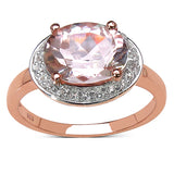 14K Rose Gold Plated 2.61 Carat Genuine Morganite & White Topaz .925 Sterling Silver Ring