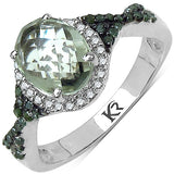 2.09 Carat Genuine Green Amethyst, Green Diamond & White Diamond .925 Sterling Silver Ring