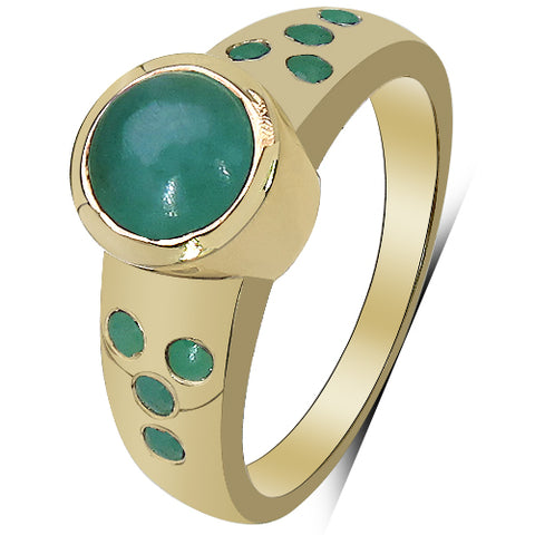 14K Yellow Gold Plated 1.55 Carat Genuine Emerald & White Diamond .925 Sterling Silver Ring