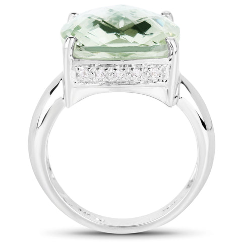 9.90 Carat Genuine Green Amethyst and White Topaz .925 Sterling Silver Ring