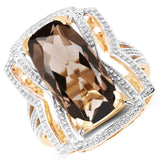 14K Yellow Gold Plated 6.59 Carat Genuine Smoky Quartz & White Diamond .925 Sterling Silver Ring