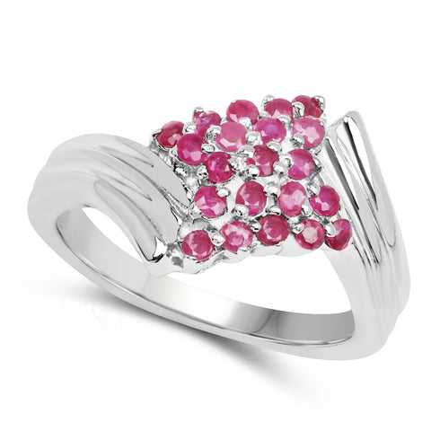 0.95 Carat Genuine Ruby .925 Sterling Silver Ring