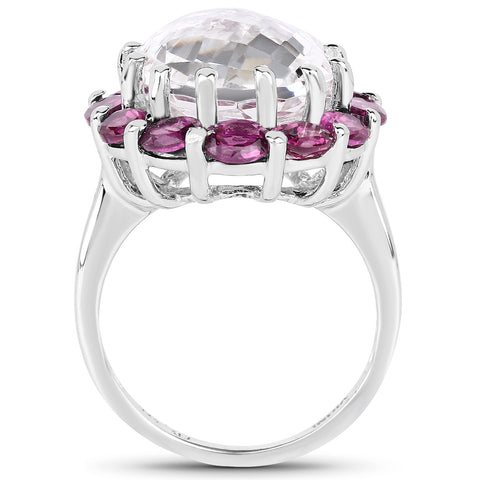 8.32 Carat Genuine Crystal Quartz and Rhodolite .925 Sterling Silver Ring