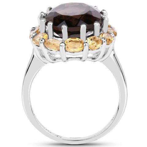 8.72 Carat Genuine Smoky Quartz and Citrine .925 Sterling Silver Ring