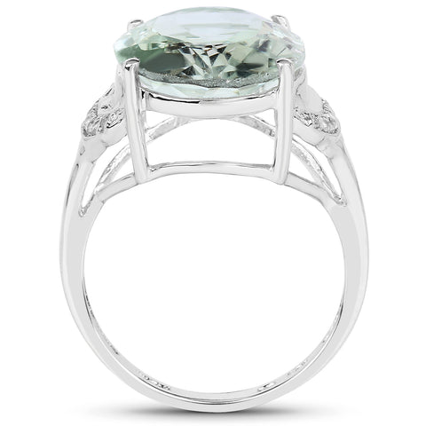 7.98 Carat Genuine Green Amethyst & White Topaz .925 Sterling Silver Ring