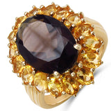 8.66 Carat Genuine Smoky Quartz & Citrine .925 Sterling Silver Ring