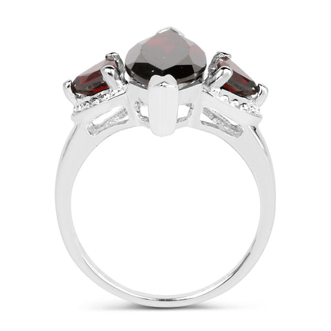 3.60 Carat Genuine Garnet .925 Sterling Silver Ring