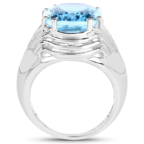 12.10 Carat Genuine Blue Topaz .925 Sterling Silver Ring