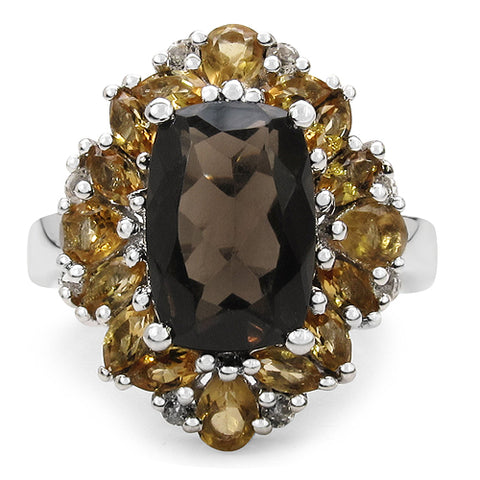 5.39 Carat Genuine Smoky Quartz, Citrine & White Topaz .925 Sterling Silver Ring