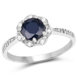 1.08 Carat Genuine Blue Sapphire and White Topaz .925 Sterling Silver Ring