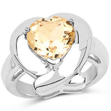 3.00 Carat Genuine Citrine .925 Sterling Silver Ring