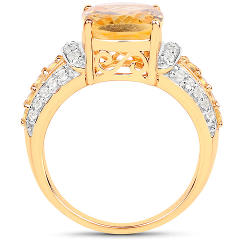 14K Yellow Gold Plated 4.35 Carat Genuine Citrine and White Topaz .925 Sterling Silver Ring