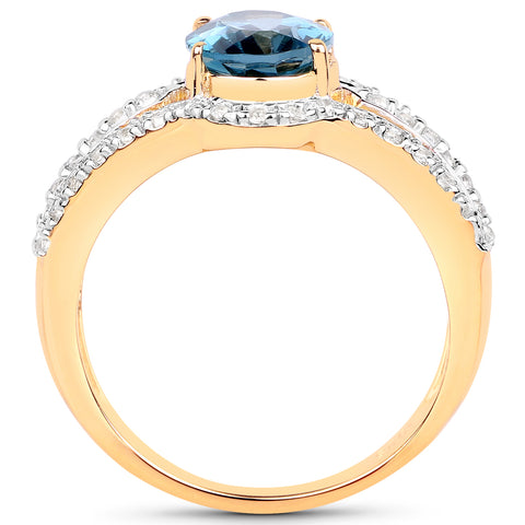 14K Yellow Gold Plated 2.30 Carat Genuine London Blue Topaz and White Topaz .925 Sterling Silver Ring