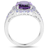 5.90 Carat Genuine Amethyst and Tanzanite .925 Sterling Silver Ring