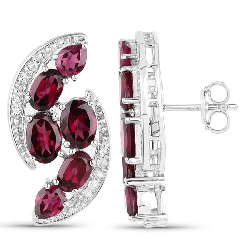 8.46 Carat Genuine Rhodolite and White Topaz .925 Sterling Silver Earrings