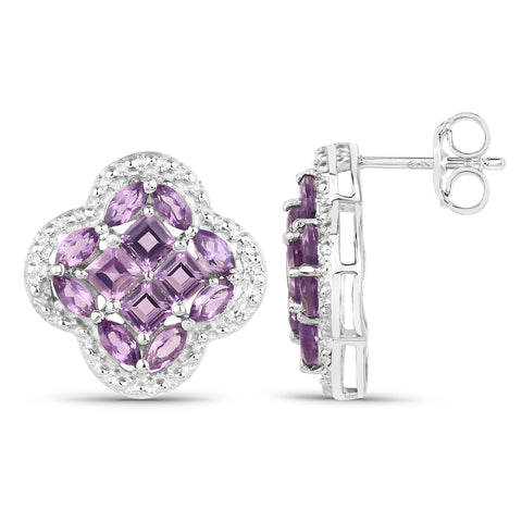 2.20 Carat Genuine Amethyst .925 Sterling Silver Earrings