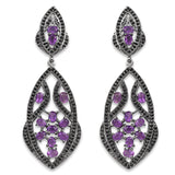 5.74 Carat Genuine Amethyst and Black Spinel .925 Sterling Silver Earrings
