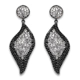 4.21 Carat Genuine White Topaz and Black Spinel .925 Sterling Silver Earrings