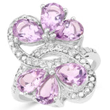 4.26 Carat Genuine Amethyst and White Topaz .925 Sterling Silver Ring
