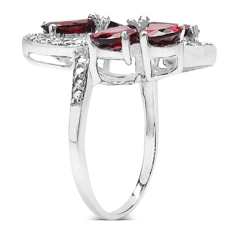 5.19 Carat Genuine Garnet & White Topaz .925 Sterling Silver Ring