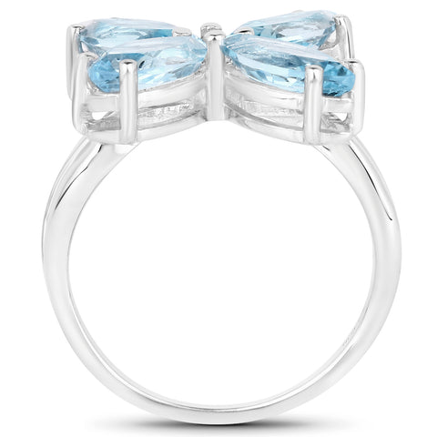 4.30 Carat Genuine Blue Topaz .925 Sterling Silver Ring