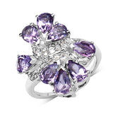 3.08 Carat Genuine Amethyst & White Topaz .925 Sterling Silver Ring