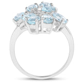 4.20 Carat Genuine Blue Topaz and White Topaz .925 Sterling Silver Ring