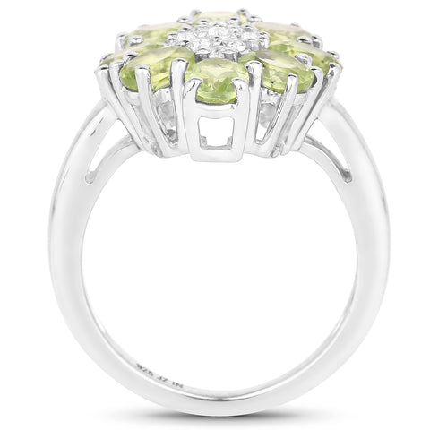 3.43 Carat Genuine Peridot and White Topaz .925 Sterling Silver Ring
