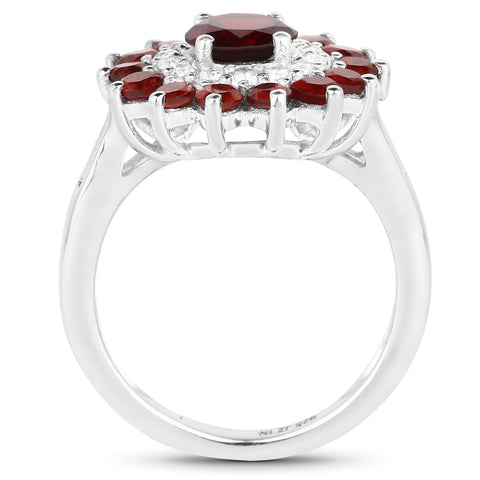2.44 Carat Genuine Garnet and White Topaz .925 Sterling Silver Ring