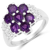 2.93 Carat Genuine Amethyst and White Topaz .925 Sterling Silver Ring