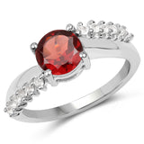 1.64 Carat Genuine Garnet and White Topaz .925 Sterling Silver Ring