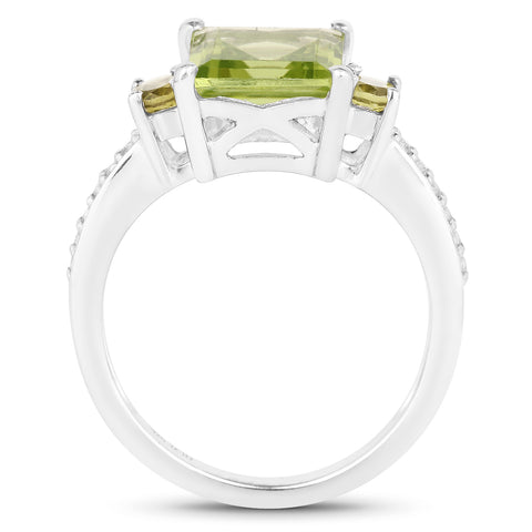 3.21 Carat Genuine Peridot and White Topaz .925 Sterling Silver Ring