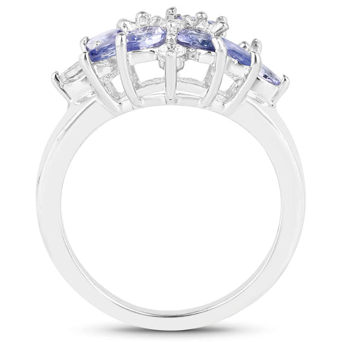 1.08 Carat Genuine Tanzanite and White Topaz .925 Sterling Silver Ring