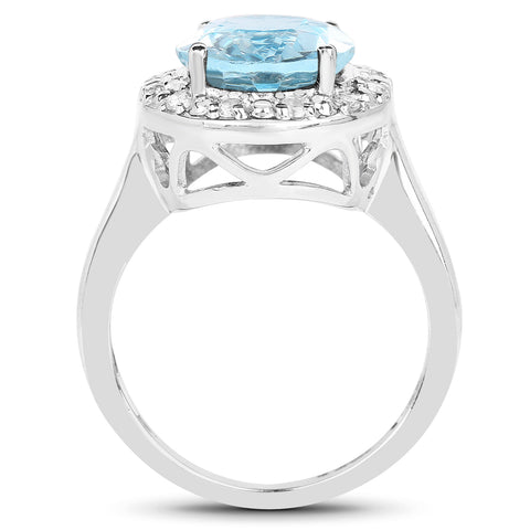 6.11 Carat Genuine Blue Topaz and White Topaz .925 Sterling Silver Ring