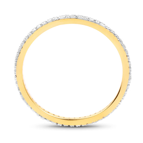 0.17 Carat Genuine White Diamond 14K Yellow Gold Ring
