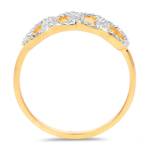 0.20 Carat Genuine White Diamond 14K Yellow Gold Ring