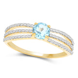 0.81 Carat Genuine Swiss Blue Topaz & White Diamond 14K Yellow Gold Ring