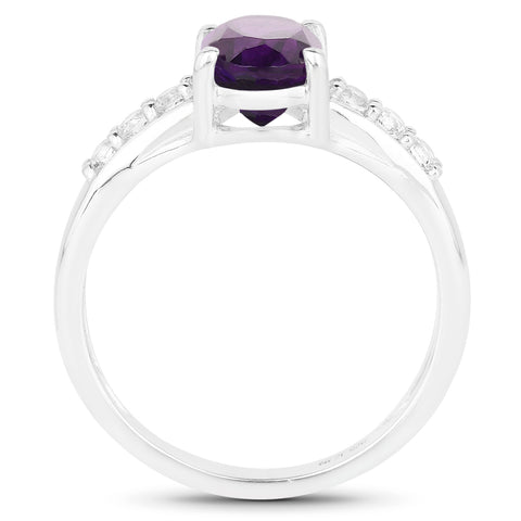 1.59 Carat Genuine Amethyst and White Topaz .925 Sterling Silver Ring