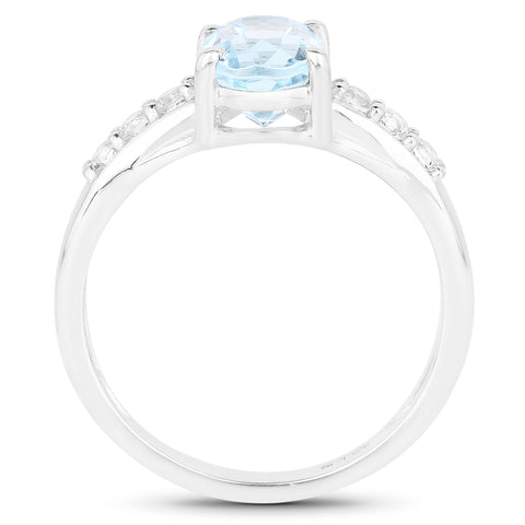 1.79 Carat Genuine Blue Topaz and White Topaz .925 Sterling Silver Ring