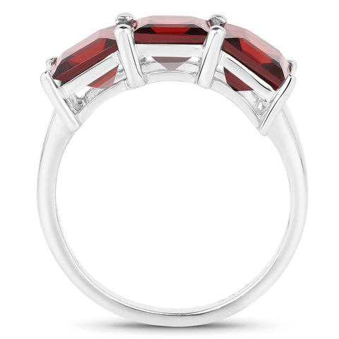 4.50 Carat Genuine Garnet .925 Sterling Silver Ring