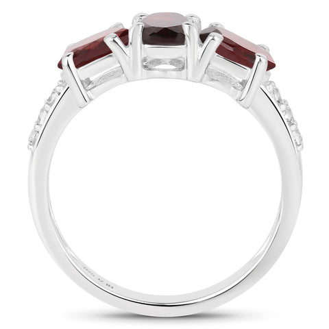1.80 Carat Genuine Garnet and White Topaz .925 Sterling Silver Ring