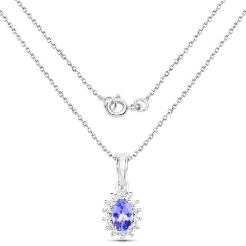 0.65 Carat Genuine Tanzanite and White Topaz .925 Sterling Silver Pendant