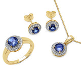 18K Yellow Gold Plated 2.80 Carat Genuine Tanzanite & White Topaz .925 Streling Silver Ring